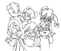 chipettes from alvin and the chipmunks coloring pages for kids printable free - Chipmunk Coloring Pages Printable