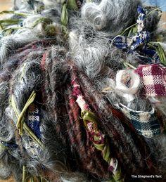 homespun fabric, raffia, natural wenslydale locks, border leicester and romney wool, core spun art yarn