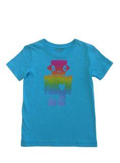 Rainbow Robot Girl: Hand Printed 100% Organic Cotton Original Mushpa + Mensa Design Youth T-Shirt  #organiccotton, #handprinted, #design, #tshirts, #screenprinted, #robotgirl, #robot, #feminist, #surfergirl, #robotlove, #sciencefiction, #GirlLove, #robotgirlsurfer