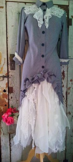 Gray and White Upcycled Clothing Western Wedding Dress Steampunk Wedding Dress Eco Clothing Small by CuriousOrangeCat on Etsy https://www.etsy.com/listing/127423750/gray-and-white-upcycled-clothing-western