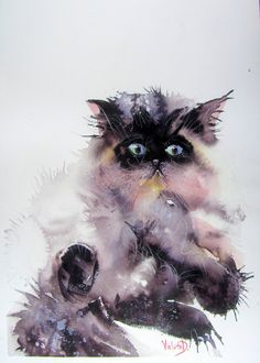 ARTFINDER: Do not disturb! Meow! by Violeta Damjanovic-Behrendt - This is an original watercolor of a Persian, long haired cat, painted in wet-in-wet technique, on a high quality Arches 300 gsm watercolor paper.