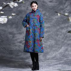 Dress - Women Winter Ethnic Style Printing Cotton Linen Sweater Dress -https://www.buykud.com/