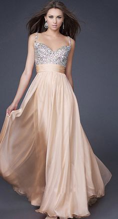 Evening Dress - Champagne Strap Beaded Long Dress (Prom Dress/Homecoming Dress/Champagne/Sexy/Floor Length/V-neck)