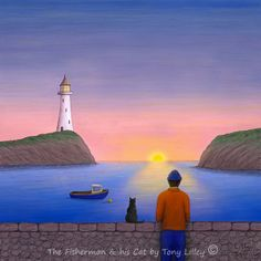 The Fisherman & his Cat - Trad-Digital painting by Tony Lilley. Drawn in pencil on paper and then painted digitally in Photoshop. Limited Edition of 50 Fine Art Prints X Bury St Edmunds, Pencil Drawings, Digital Art, Fine Art Prints, Photoshop, Cat, Canvas, Paper, Artist