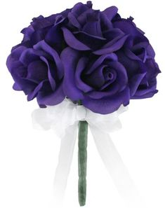 Purple Silk Rose Toss Bouquet - Bridal Wedding Bouquet * Check out this great product.