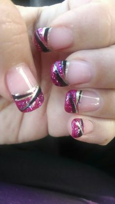 Gel Nails French Manicure With Red Tips And Black Nail Art