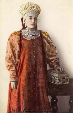 A girl in a traditional Russian dress of the Pskov Province, the collection of the Princess Varvara P. Sidamon-Eristoff (Russian, and her sister, Natalia P. Victorian Women, Folk Costume, Costumes For Women, Old Photos, Sari, Princess, Traditional, Collection, Dresses