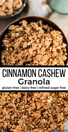 A simple DIY granola recipe, this Cinnamon Cashew Granola is a nut butter granola recipe that still has great chunky clusters! Coated in a sweet, creamy Cinnamon Cashew Butter mixture, this granola is Cookies Gluten Free, Dairy Free Snacks, Dairy Free Breakfasts, Gluten Free Oats, Dairy Free Recipes Healthy, Healthy Snacks, Sugar Free Snacks, Healthy Drinks, Diy Granola Recipe