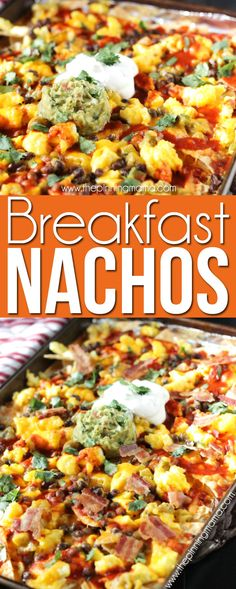 Breakfast Nachos Recipe - This quick and easy breakfast recipe will become a quick favorite if you love nachos as much as we do! Crispy tortilla chips are layered with eggs, bacon, enchilada sauce an (Paleo Breakfast Tacos) Breakfast Nachos, Breakfast Enchiladas, Mexican Breakfast Recipes, Breakfast Dishes, Eat Breakfast, Mexican Food Recipes, Breakfast Casserole, Breakfast Sandwiches, Cheese Enchiladas