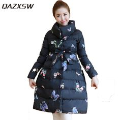 QAZXSW New Woman Winter Jackets For Women Warm Outwear Stand Collar Butterfly Jacket Parkas Long Cotton Coat Abrigos Mujer HB102-in Parkas from Women's Clothing & Accessories on Aliexpress.com | Alibaba Group