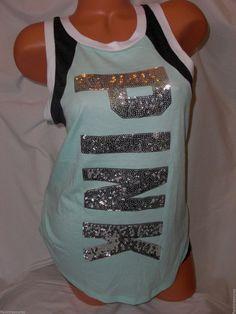 New Victoria's Secret Love PINK Campus Muscle Tank Top Lt Mint Sequin Bling #PINKbyVictoriasSecret #MuscleTank #Casual