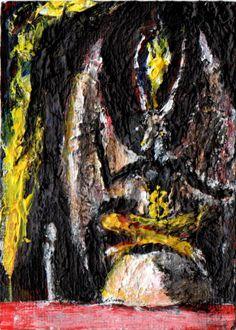 """TRANSFORMATIVE PSYCHODRAMA?"",   original ART ,ACEO  jack larson 3.5""x2.5"" #Abstract"
