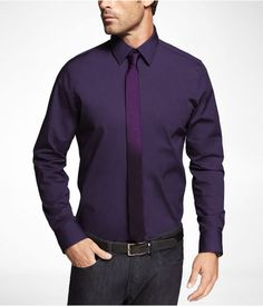 Men's purple shirt, grey pants | Clothing Ideas | Pinterest ...