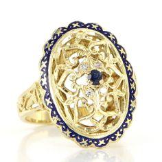 Vintage 18 Karat Yellow Gold Natural Sapphire Diamond Filigree Cocktail Ring $795