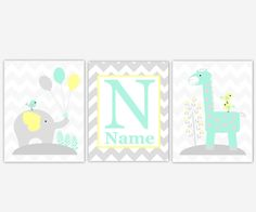 Gender Neutral Baby Nursery Wall Art Yellow Gray Aqua Elephant Giraffe Safari Jungle Zoo Animals Personalize Baby Boy Girl Nursery Decor Bird Chevron Print780 ** CUSTOMIZE THE COLORS TO MATCH YOUR DECOR** SET OF 3 UNFRAMED PRINTS These prints would make a great addition to any Baby Nursery - Kids Room - Playroom. They would also make for a great gift. FRAMES ARE NOT INCLUDED Colors - Backgrounds - Sayings/Quotes can be changed per your request. Just send a detailed message in the Note...