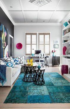 tapis original en nuances bleues