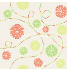 Citrus seamless pattern with orange lemon and lime vector - by fuzzyfox on VectorStock®