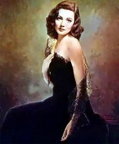 """The famous portrait of Gene Tierney as """"Laura,"""" 1944, also with Dana Andrews, Clifton Webb, Vincent Price, and Judith Anderson. """"She's Laura, but she's only a dream."""""""