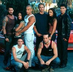 Michelle Rodriguez, Vin Diesel, Paul Walker, Jordana Brewster and the cast from 'The Fast and The Furious' 2001.