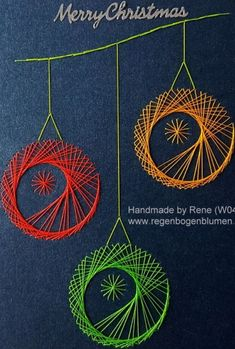 Fadengrafik - Greeting Cards - Set with the illustrated thread graphic motif worked with Ultra-Neon- Snowflake Embroidery, Embroidery Cards, Christmas Embroidery, Embroidery Patterns, Hand Embroidery, Doily Patterns, Arte Linear, Sewing Cards, String Art Patterns