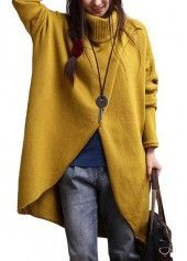 Batwing Sleeve Turtleneck Yellow Asymmetric Sweater | liligal.com - USD $36.11