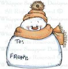 Chubby Snowman Tag - Snowmen Images - Snowmen - Rubber Stamps - Shop