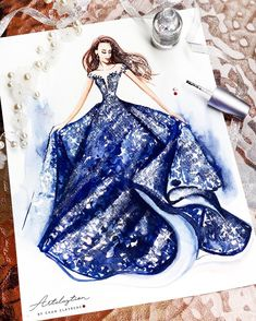 Navy Gown from tarikedizofficial. Drawings of Lavish Flowing Dress Designs Painted with watercolors and Nail polish. By Clayrene Chan. Dress Design Drawing, Dress Design Sketches, Dress Drawing, Fashion Design Drawings, Fashion Sketches, Dress Designs, Fashion Drawing Dresses, Fashion Illustration Dresses, Fashion Dresses