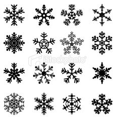 Black and White Snowflakes Set Royalty Free Stock Vector Art Illustration