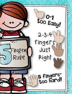Five Finger Rule {freebie} reminder poster