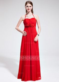 Bridesmaid Dresses - $119.99 - Empire Halter Floor-Length Chiffon Bridesmaid Dress With Ruffle Flower(s) (007025368) http://jjshouse.com/Empire-Halter-Floor-Length-Chiffon-Bridesmaid-Dress-With-Ruffle-Flower-S-007025368-g25368
