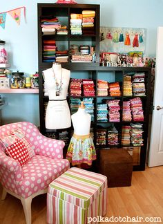 Fabric organization idea - The Polka Dot Chair