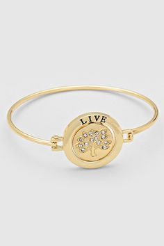 Engraved Live In The Moment Bracelet in Gold | Women's Clothes, Casual Dresses, Fashion Earrings & Accessories | Emma Stine Limited
