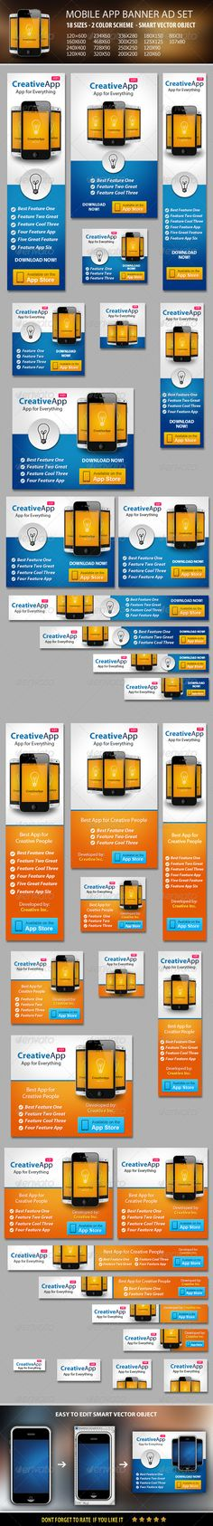 Mobile App Banner ad Set Template PSD   Buy and Download: http://graphicriver.net/item/mobile-app-banner-ad-set/5843731?WT.ac=category_thumb&WT.z_author=booharry&ref=ksioks