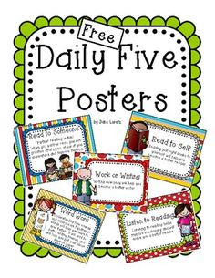 Free Daily Five Posters - literacy block (students can do 2 different activities per day or rotate through as centres) Daily 5 Activities, Reading Activities, Teaching Reading, Teaching Ideas, Reading Resources, Reading Strategies, Teaching Tools, Primary Teaching, School Resources