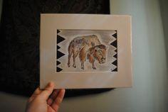 Watercolor Buffalo Print by joymalicki on Etsy