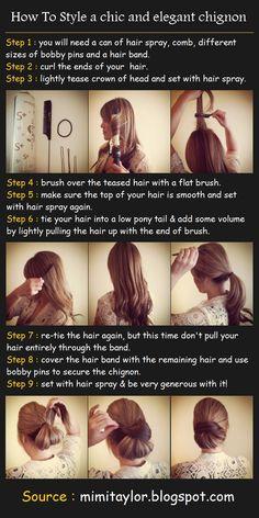 Til når jeg får litt lenger hår:) Chic and elegant chignon | Beauty Tutorials