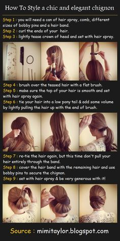 How To Style a chic and elegant chignon | Pinterest Tutorials