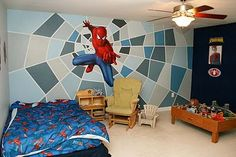 Jenn and Terry: Jack's Spiderman Room - such a cool background Boy Girl Room, Man Room, Avengers Room, Boy Room Paint, Kids Bedroom Designs, Toddler Rooms, Cool Rooms, Spiderman Web, David