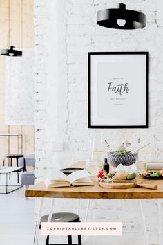 """""""Walk by faith, not by sight"""" - 2 Corinthians 5:7. Printable Christian living room and dining wall art. Black and white minimalist poster print. #zqprintableart #livingroomdecor #wallprint #printablewallart #Christianwallart #2Corinthians57 #walkbyfaithnotbysight Bible Verse Wall Art, Wall Art Quotes, Quote Art, Kitchen Wall Art, Kitchen Decor, Coffee Wall Art, Ikea, Coffee Bars In Kitchen, Christian Wall Art"""