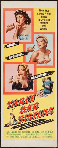 "Movie Posters:Bad Girl, Three Bad Sisters (United Artists, 1956). Insert (14"" X 36""). BadGirl.. ... Image #1"