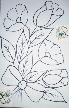 Art Drawings For Kids, Art Drawings Sketches Simple, Floral Embroidery Patterns, Hand Embroidery Designs, Painting Patterns, Fabric Painting, Fabric Paint Designs, Embroidery Transfers, Flower Art