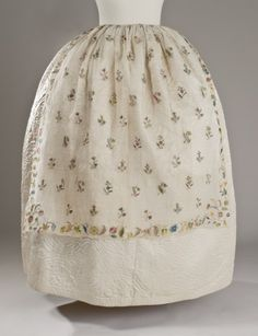 Woman's Dress ApronEngland, 1750-1785Costumes; AccessoriesCotton plain weave with silk and metallic-thread embroideryCenter front length:  34 1/4 in. (86.995 cm); Width:  33 in. (83.82 cm)Purchased with funds provided by Suzanne A. Saperstein and Michael and Ellen Michelson, with additional funding from the Costume Council, the Edgerton Foundation, Gail and Gerald Oppenheimer, Maureen H. Shapiro, Grace Tsao, and Lenore and Richard Wayne (M.2007.211.131)