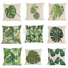 9 PC Lino Cobertor de Cojín Funda de almohada,Sólido Con Texturas Moderno/Contemporáneo Casual Tradicional/Clásico Estilo playero Tropical 2017 - $584.48
