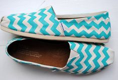 Womens Custom Hand Painted TOMS White and Teal Chevron Design on Etsy, $120.00