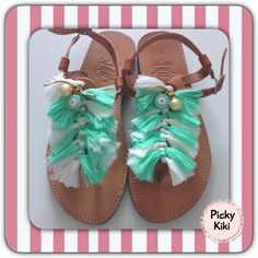 Sandals from genuine leather,with bright green and white pompons,peepholes and pearls Trendy Shoes, Bright Green, Fashion Outfits, Pearls, Sandals, Leather, Accessories, Clothes, Pom Poms
