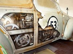 Inside Herbie AirBrush VW paint job gears