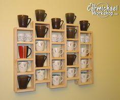 Coffee Mug Display Rack Coffee Mug Storage, Coffee Mug Display, Coffee Mug Holder, Coffee Mugs, Diy Breakfast Bar, Diy Nightstand, Diy Wall Shelves, Wood Shelves, Candle Holder Decor
