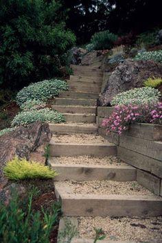 landscaping ideas stair | ... Entertaining Garden - Backyard Landscape Design | Landscape Design.