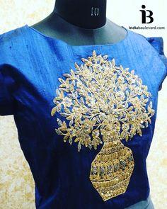 Zardozi raw silk gold embroidery crop top.