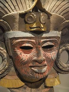 Mask from an Incense Burner Portraying the Old Deity of Fire Teotihuacan Mexico CE Ceramic and Pigmment Photographed at the Art Institute of Chicago, Chicago, Illinois. Some rights reserved Ancient Aztecs, Ancient Civilizations, Ancient Art, Ancient History, Mayan Glyphs, Aztec Mask, Machu Picchu, Inca, Art Institute Of Chicago